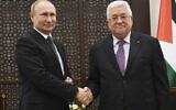 Palestinian President Mahmoud Abbas,  shakes hands with Russian President Vladimir Putin during their meeting at the Palestinian Authority headquarters in Bethlehem, Jan 23, 2020.  (Alexander Nemenov, Pool via AP)