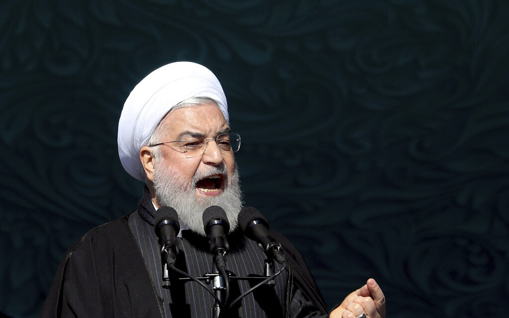 Iranian President Hassan Rouhani speaks during a ceremony celebrating the 41st anniversary of the Islamic Revolution, at the Azadi, Freedom, Square in Tehran, Iran on February 11, 2020. (AP Photo/Ebrahim Noroozi)