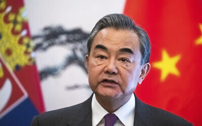 Chinese Foreign Minister Wang Yi in Beijing, February 26, 2020. (Roman Pilipey/Pool Photo via AP)
