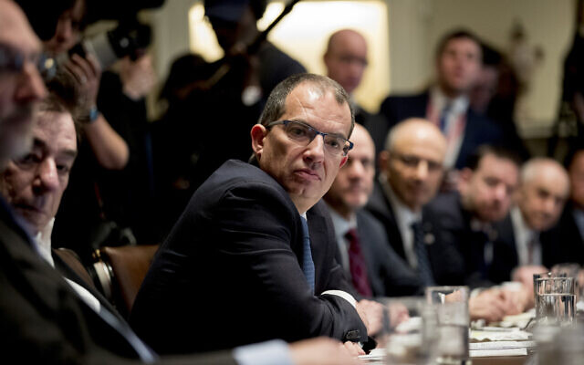 Moderna CEO Stephane Bancel attends a meeting with US President Donald Trump, members of the Coronavirus Task Force, and pharmaceutical executives in the Cabinet Room of the White House, Monday, March 2, 2020, in Washington. (AP Photo/Andrew Harnik)