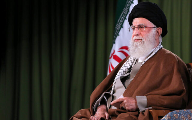 In this picture released by an official website of the office of the Iranian supreme leader, Supreme Leader Ayatollah Ali Khamenei addresses the nation in a televised speech in Tehran, Iran, Thursday, April 9, 2020.Office of the Iranian Supreme Leader via AP)
