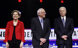 In this Feb. 25, 2020, file photo from left, Democratic presidential candidates, Sen. Elizabeth Warren, Sen. Bernie Sanders, former Vice President Joe Biden participate in a Democratic presidential primary debate in Charleston, South Carolina (AP Photo/Matt Rourke, File)