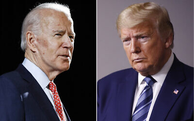 In this combination of file photos, former US vice president Joe Biden speaks in Wilmington, Delaware, on March 12, 2020, left, and US President Donald Trump speaks at the White House in Washington on April 5, 2020. (AP Photo, File)