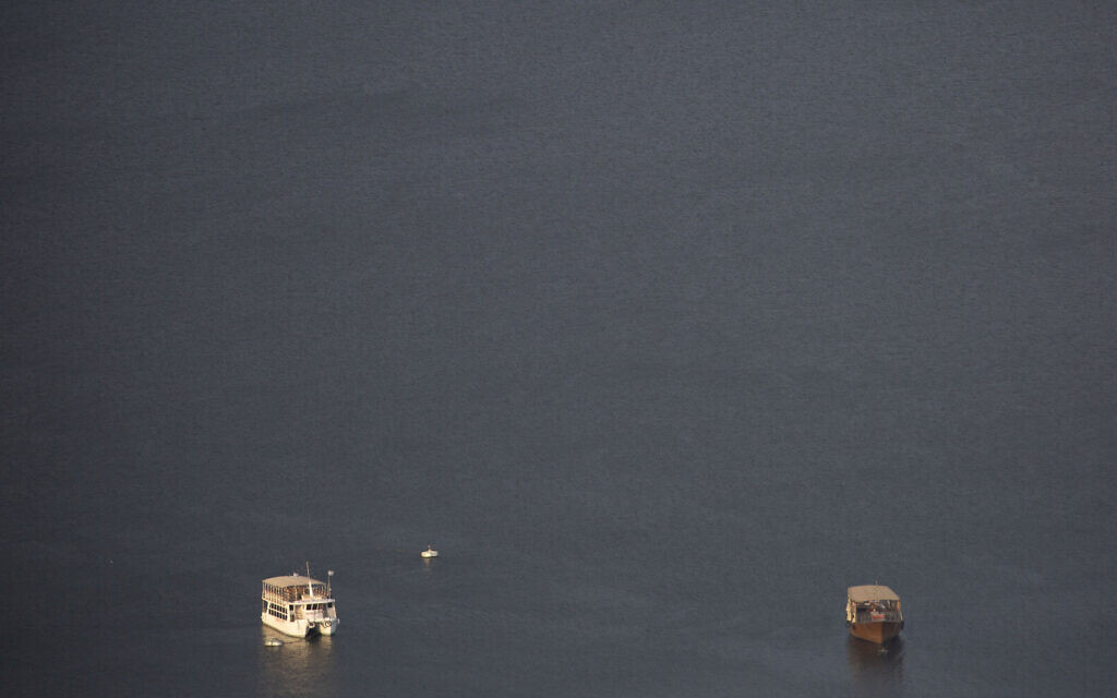 This April 25, 2020 photo shows empty tourist boats in the Sea of Galilee, locally known as Lake Kinneret  (AP Photo/Ariel Schalit)