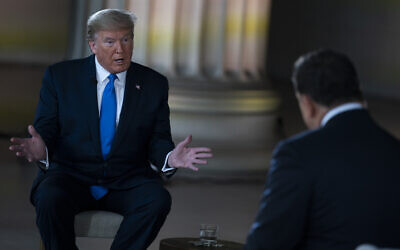 US President Donald Trump speaks during a Fox News virtual town hall from the Lincoln Memorial, May 3, 2020, in Washington. (AP Photo/Evan Vucci)