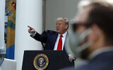 President Donald Trump speaks about the coronavirus during a press briefing in the Rose Garden of the White House, Monday, May 11, 2020, in Washington. (AP/Alex Brandon)