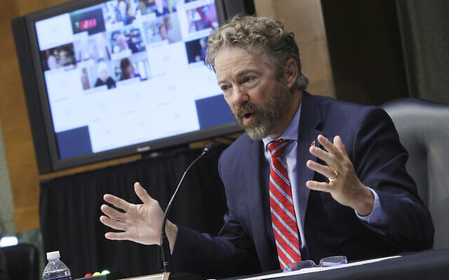 Sen. Rand Paul, R-Ky., speaks during a virtual Senate Committee for Health, Education, Labor, and Pensions hearing, Tuesday, May 12, 2020 on Capitol Hill in Washington. (Win McNamee/Pool via AP)