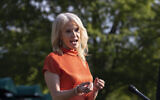 Counselor to the President Kellyanne Conway speaks with reporters at the White House on May 15, 2020, in Washington. (AP Photo/Alex Brandon)