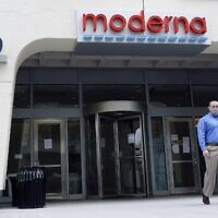 An entrance to a Moderna, Inc., building, May 18, 2020, in Cambridge, Massachusetts. (AP Photo/Bill Sikes)
