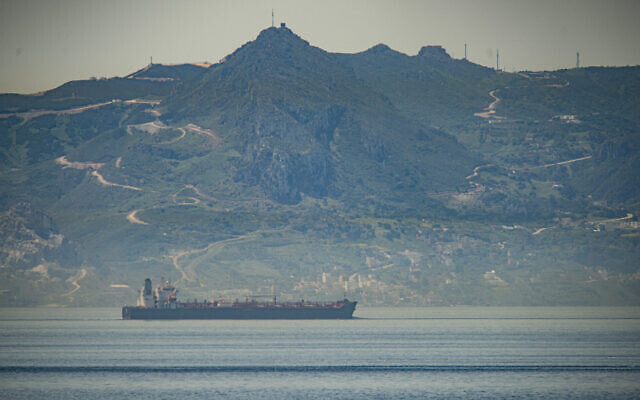 A view of the vessel the Clavel, an Iranian tanker bringing gasoline to Venezuela, sailing on international waters crossing the Gibraltar stretch on May 20, 2020. (AP Photo/Marcos Moreno)