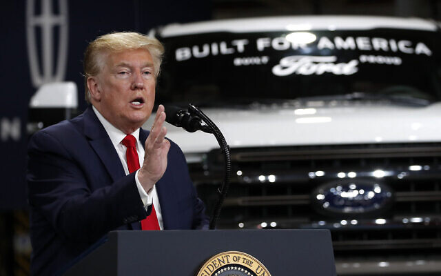 US President Donald Trump speaks at Ford's Rawsonville Components Plant that has been converted to making personal protection and medical equipment on May 21, 2020, in Ypsilanti, Michigan. (AP/Alex Brandon)