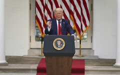 US President Donald Trump answers questions from reporters during an event on protecting seniors with diabetes in the Rose Garden White House, Tuesday, May 26, 2020, in Washington. (AP Photo/Evan Vucci)