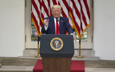 US President Donald Trump answers questions from reporters during an event on protecting seniors with diabetes in the Rose Garden White House, May 26, 2020, in Washington. (AP Photo/Evan Vucci)