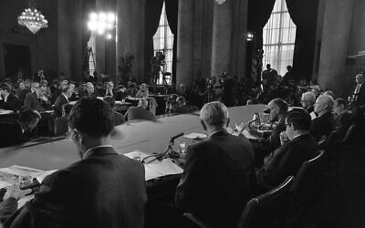 Illustrative: Senate Foreign Relations Committee members seen from behind in the foreground: (left to right) Sen. Claiborne Pell, D-R.I., Sen. Stuart Symington, D-Mo., Sen. Frank Church, D-Idaho, Sen. William Fullbright, D-Ark., Sen. Albert Gore, D-Tenn., and Sen. George Aiken, R-VT, on April 11, 1969. (AP Photo)