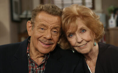 """In this Nov. 6, 2003, file photo, Jerry Stiller, left, and his wife Anne Meara pose on the set of """"The King of Queens,"""" at Sony Studio in Culver City, Calif.(AP Photo/Stefano Paltera, File)"""