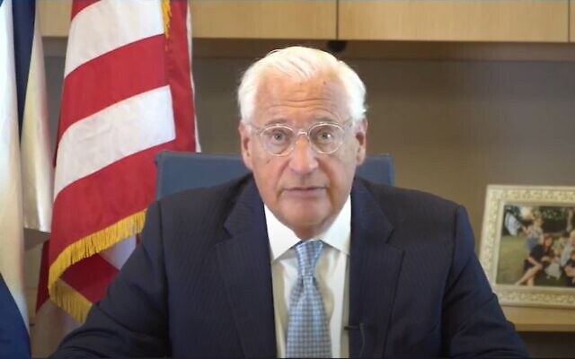 US Ambassador to Israel David Friedman speaks at a Haaretz conference on May 27, 2020. (Screen capture/YouTube)