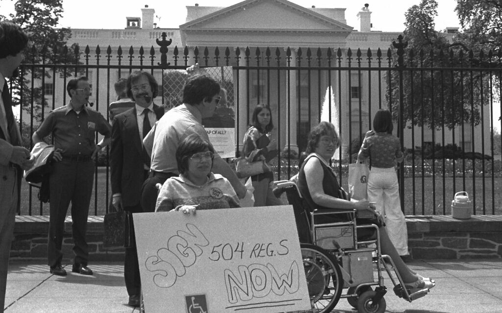 Judith Heumann at a 504 protest in front of The White House (Netflix)