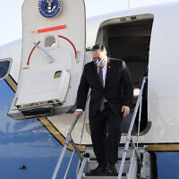 US Secretary of State Mike Pompeo lands in Israel for a one-day visit on May 13, 2020 (Matty Stern/US Embassy Jerusalem)