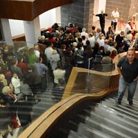 Illustrative: Visitors at the official opening of the auditorium in the West Bank settlement of Ariel, November 8, 2010. (Gili Yaari/Flash90)