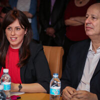 Likud MKs Tzipi Hotovely (L) and Tzachi Hanegbi at the Foreign Ministry in Jerusalem on July 21, 2015. (Hadas Parush/Flash90)