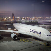 A Lufthansa airplane at Frankfurt Airport. (Nati Shohat/FLASH90)