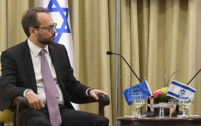 EU ambassador to Israel Emanuele Giaufret at the president's residence in Jerusalem on October 23, 2017. (Mark Neyman/GPO)