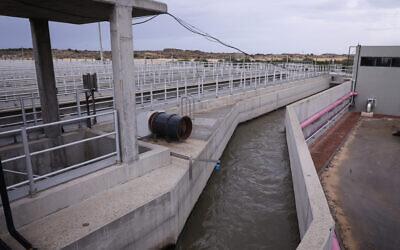 Illustrative: The Gush Dan wastewater treatment plant in Rishon Letzion is seen on November 22, 2018. (Isaac Harari/Flash90)