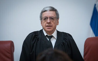 Supreme Court Justice Meni Mazuz at the Supreme Court in Jerusalem on March 22, 2019. (Yonatan Sindel/Flash90)