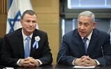 Prime Minister Benjamin Netanyahu, right, with then-Knesset speaker Yuli Edelstein, at the Likud party faction meeting at the Knesset, April 30, 2019. (Noam Revkin Fenton/Flash90)