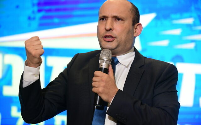 Naftali Bennett attends the campaign launch of the right-wing Yamina party, February 12, 2020, ahead of elections, . (Tomer Neuberg/FLASH90)