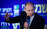 Defense Minister Naftali Bennett speaks at the 17th annual Jerusalem Conference of the 'Besheva' group, on February 24, 2020. (Olivier Fitoussi/Flash90)
