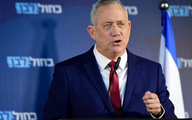 Blue and White leader Benny Gantz holds a press conference at Kfar Maccabiah on March 1, 2020. (Avshalom Sassoni /Flash90)
