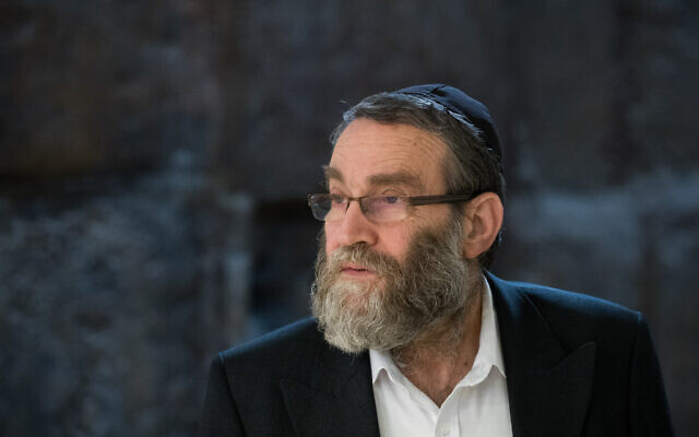 United Torah Judaism MK Moshe Gafni arrives at a meeting with Prime Minister Benjamin Netanyahu in the Knesset on March 3, 2020, a day after the general elections. (Yonatan Sindel/Flash90)