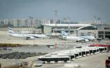 El Al planes at the Ben Gurion International Airport, April 12, 2020. (Flash90)