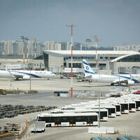 El Al planes at the Ben Gurion International Airport, April 12, 2020. (Flash90)