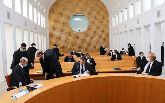 Attorneys at the Supreme Court for a hearing on petitions against the proposed government, at the Supreme Court in Jerusalem on May 3, 2020. (Yossi Zamir/Pool)