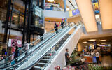 Shoppers at the usually packed Malha Mall in Jerusalem after it reopened May 7, 2020. (Yonatan Sindel/Flash90)