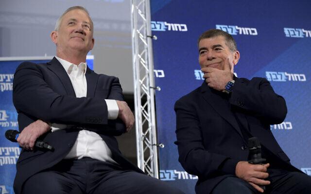 Benny Gantz, head of Blue and White party, and MK Gabi Ashkenazi at an election campaign event in Kfar Saba, on Feb 12, 2020. (Gili Yaari/Flash90)