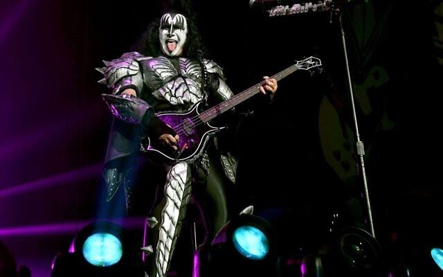 Gene Simmons of Kiss performs at Staples Center in Los Angeles, March 4, 2020. (Kevin Winter/Getty Images for ABA via JTA)