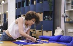 Israeli designer Rinat Brodach working on a design while on Amazon Prime Video's 'Making the Cut,' which aired March 20, 2020 (Courtesy screen grab)