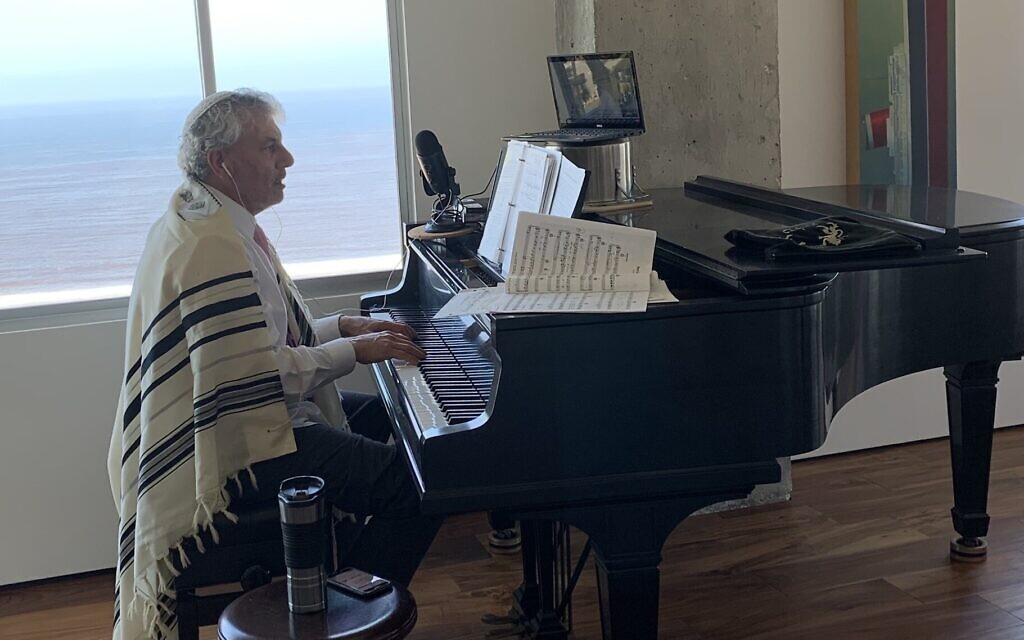 Illustrative: Lay cantor Gary Levine sings at home in Los Angeles. (Courtesy of Levine)