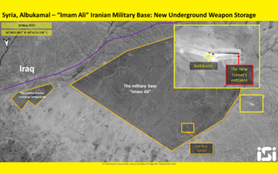 This photo released by ImageSat International on May 13, 2020, shows apparent construction on an underground weapons storage facility on a military base suspected of being controlled by Iran in eastern Syria's al-Bukamal region. (ImageSat International)