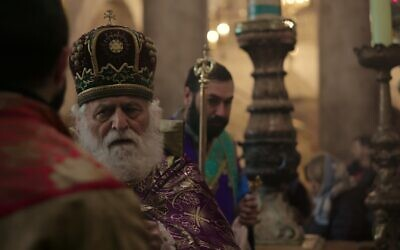 Fr. Samuel Aghoyan of the Armenian Apostolic Church at the Church of the Holy Sepulchre (David Stragmeister)