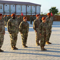 Multinational Force & Observers troops stand in formation during a change of command ceremony in Sinai, Egypt, July 15, 2019. (US Army/Staff Sgt. Kulani J. Lakanaria)