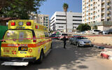 The street in Hadera where a man was declared dead after being found unconscious in a car amid a heat wave, May 18, 2020. (Magen David Adom)