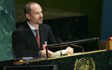 Sven Jurgenson, then deputy foreign minister of Estonia, addresses the 61st session of the United Nations General Assembly at UN headquarters, September 26, 2006. (AP/Ed Betz)