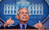Dr. Anthony Fauci, director of the National Institute of Allergy and Infectious Diseases, speaks about the coronavirus in the White House, April 17, 2020. (AP/Alex Brandon)
