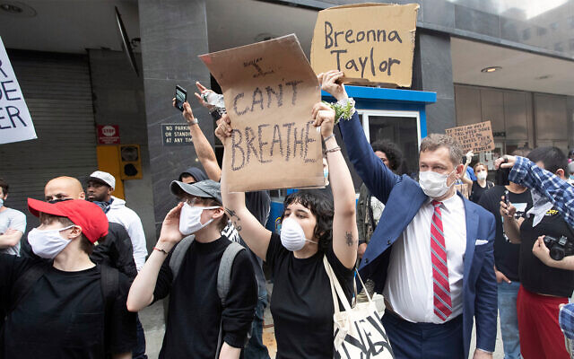 Protesters demonstrate against the the death of George Floyd in New York, May 29, 2020. (AP/Mary Altaffer)