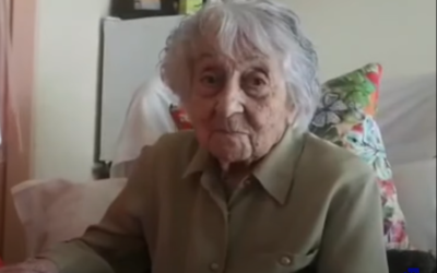 Maria Branyas, 113, after recovering from COVID-19 at the Santa Maria del Tura care home in Olot, Spain, May 11, 2020. (Screenshot: YouTube)