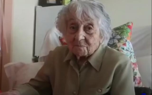 Maria Branyas, 113, after recovering from COVID-19 at the Santa Maria del Tura care home in Olot, Spain, May 11, 2020. (Screenshot: YouTube)